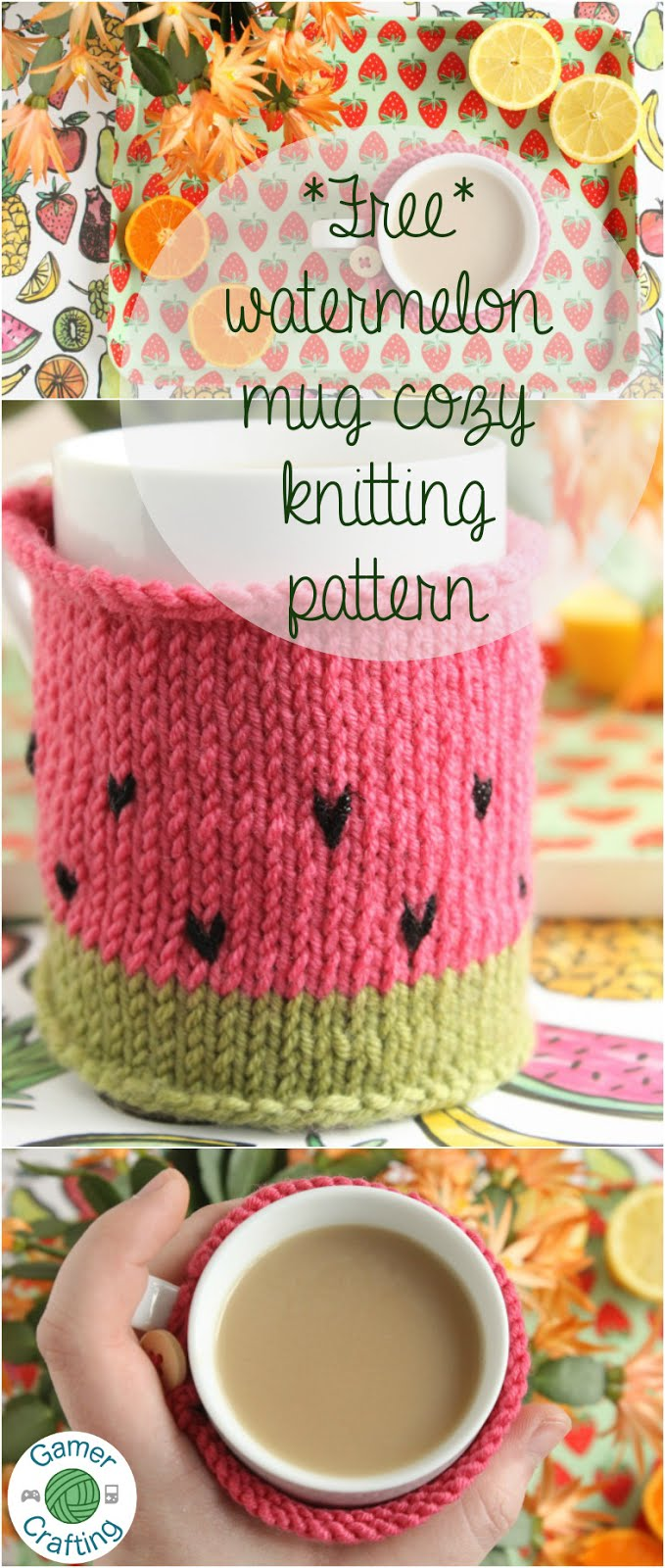 Free watermelon mug cozy knitting pattern by GamerCrafting
