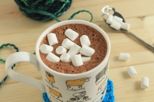 Hot chocolate with marshmallows in a sheep mug with yarn: read about how everything went wrong on GamerCrafting