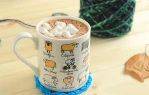 Yarn and hot chocolate in a sheep mug with marshmallows: read more about the worst day at GamerCrafting